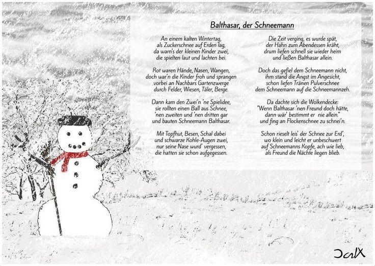 [Dark Xperience - Balthasar, der Schneemann] Mein Kind erzählte mir von einer Geschichte, die sie sich ausgedacht hat und fragte mich, ob ich diese Geschichte zu einem Gedicht umschreiben könnte. Natürlich erfüllte ich ihr diesen Wunsch und das Ergebnis könnt ihr hier lesen. Viel Spaß mit dem Schneemann Balthasar, der einen Freund braucht. ;)