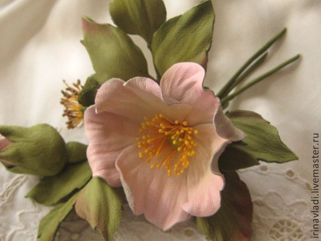 Купить Цветы из кожи .Брошь заколка НЕЖНОСТЬ - цветы из кожи, брошь-цветок