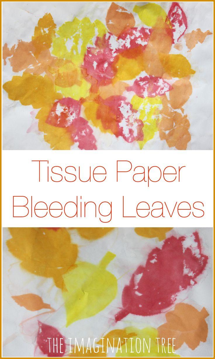 Tissue paper bleeding leaves Fall art project for kids