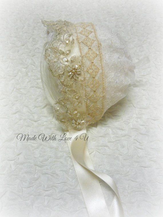 Newborn ivory lace bonnet by MadeWithLove4U01 on Etsy
