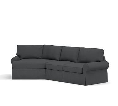 PB Basic Right Arm 2-Piece Angled Chaise Sectional Slipcover, Linen Blend Gunmetal Gray