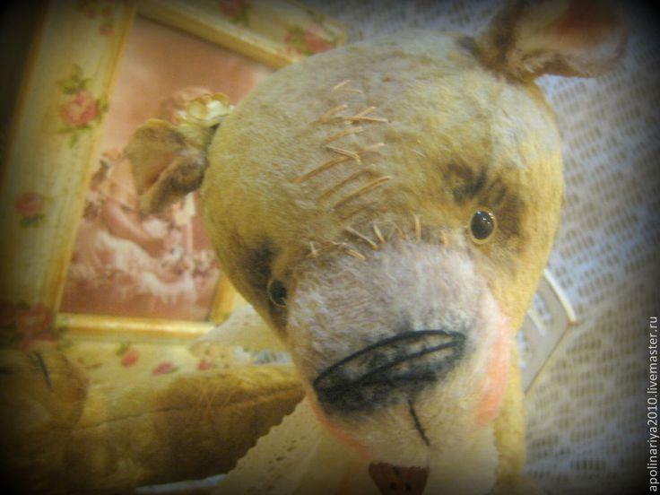 """Купить Мишка Bony с погремушкой серия """"Винтажное детство """" - бежевый, мишка, мишка тедди"""