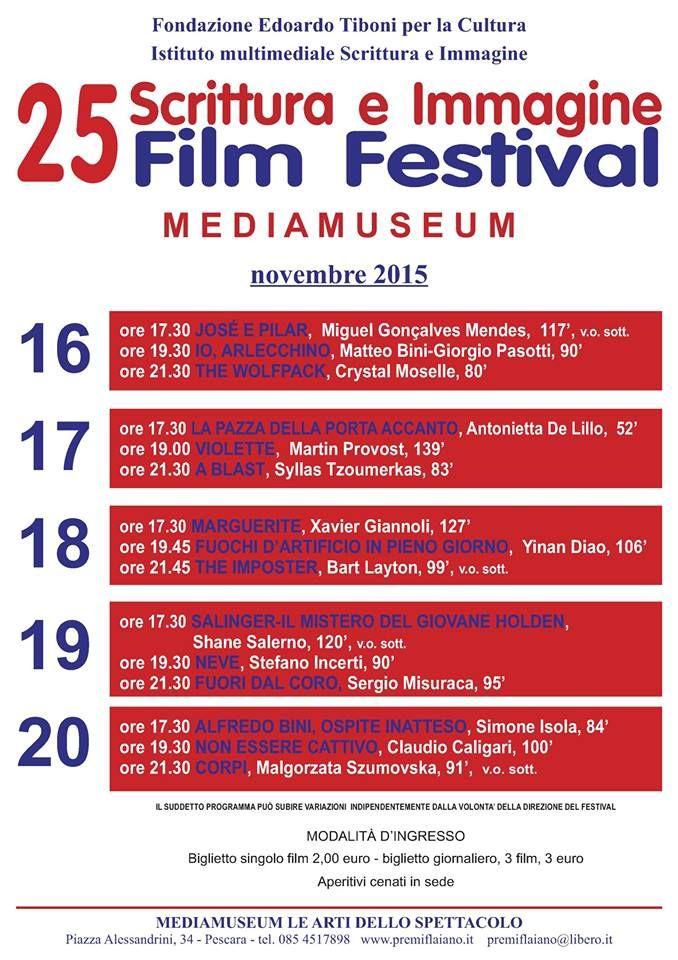 Pescara ultima giornata del 25 Scrittura e Immagine Film Festival