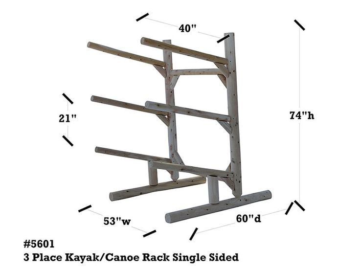 3 Place Kayak Rack | Free Standing Log Kayak & Canoe Storage