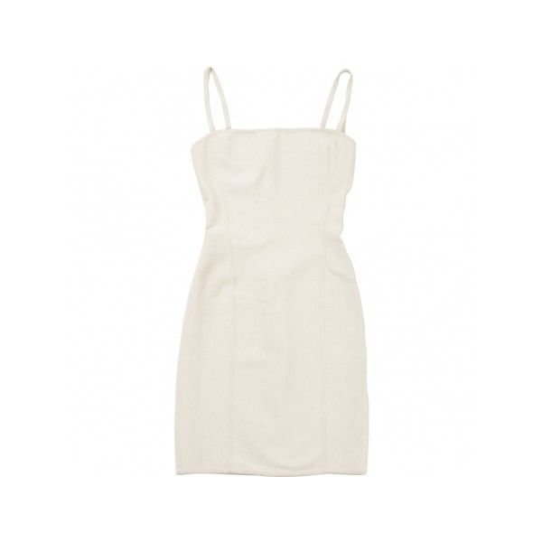Pre-owned HERVE LEGER Ecru Viscose Dress ($120) ❤ liked on Polyvore featuring dresses, preowned dresses, rayon dress, chain dress, white rayon dress and white cocktail dresses