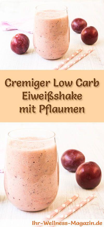 Eiweißshake mit Pflaumen selber machen - ein gesundes Low-Carb-Diät-Rezept für Frühstücks-Smoothies und Proteinshakes zum Abnehmen - ohne Zusatz von Zucker, kalorienarm, gesund ...