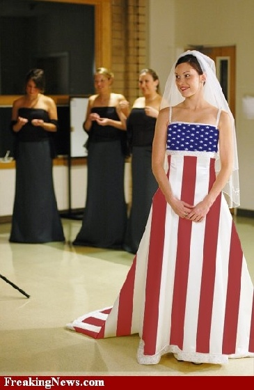 Confederate flag wedding dresses trashy classy for Rebel flag wedding dresses