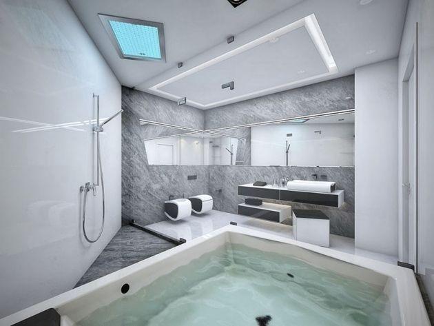 Minimalistisches Badezimmer Wände In Marmor Look Grau Weiß Mit Getrennten  Bereichen