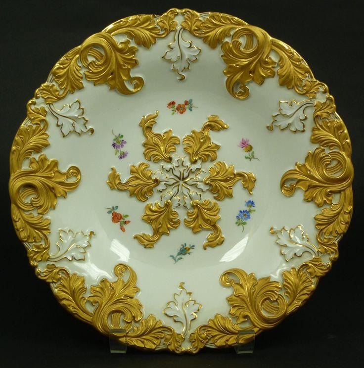 Meissen Gold Leaf Porcelain Floral Bowl Beautiful Plates