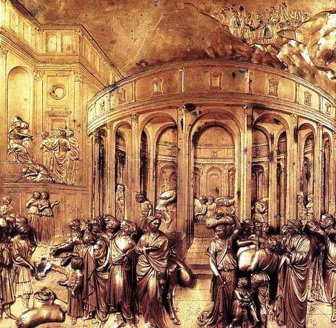 Lorenzo Ghiberti - Porta del Paradiso del Battistero di Firenze - Dettaglio: Tribunale delle due donne