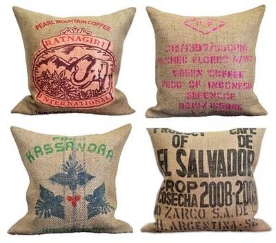 Coffee sack cushions, what a great souvenir from Costa Rica, El Salvador, Cuba....