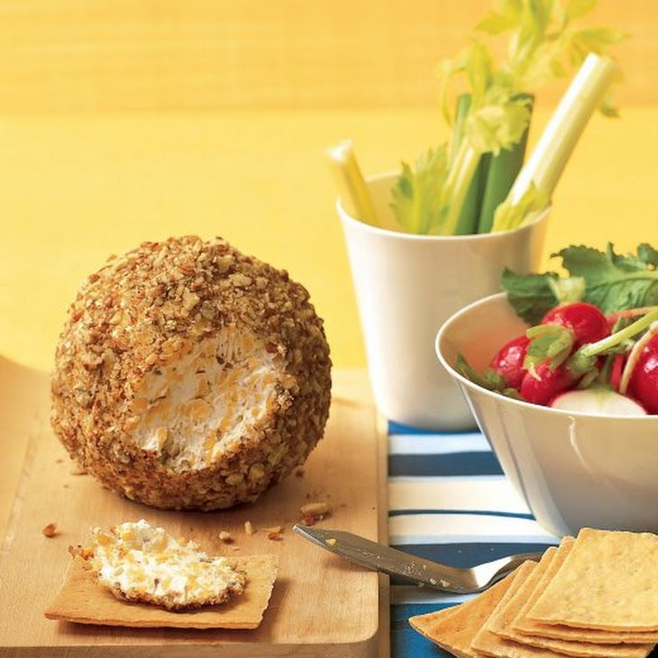 Cheese Ball Recipe Lunch and Snacks, Appetizers with cream cheese, sharp cheddar cheese, dijon mustard, worcestershire sauce, ground pepper, finely chopped pecans