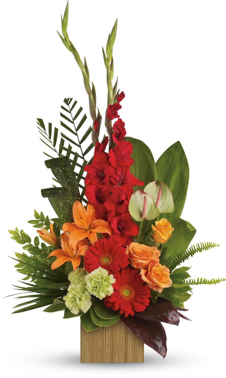 red and orange flower arrangements Heart's Companion - Teleflora Funeral  Flowers