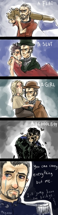 Jean Valjean can carry everything except for Javert...haha! Omg... poor Javert....