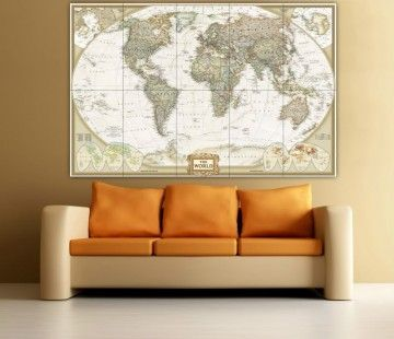 http://www.bawtie.com/decor-and-design-your-room-with-oversized-wall-art/ Decor and Design Your Room with Oversized Wall Art : Map Oversized Wall Art