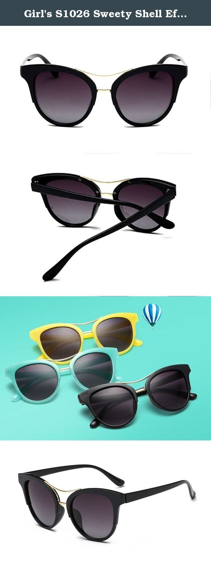 Girl's S1026 Sweety Shell Effect Acetate Frame Cat-eye Polarized Sunglasses (black, 0). Gorgeous and fashionable, flocked cat-eye kid's sunglasses with large lenses and a sweety semi-transparent colour. These are true optical quality sunglasses for children with full UV400 protection at a very affordable price. Polarized lenses reduce 99% of visible glare from water, snow, sand and pavement for increased visual acuity and decreased eye strain. Polycarbonate lenses are 20 times more impact...