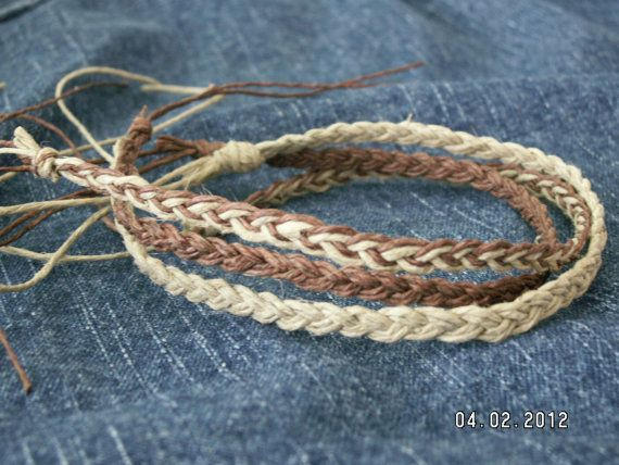 Hemp ANKLET Set of 3   Surfer HIPPIE  Men or Women  by Oklahoma405, $7.00