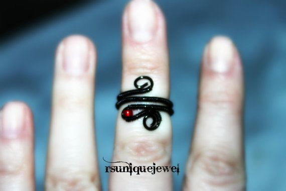 Adjustable black midi ring Wire wrapped by rsuniquejewel on Etsy