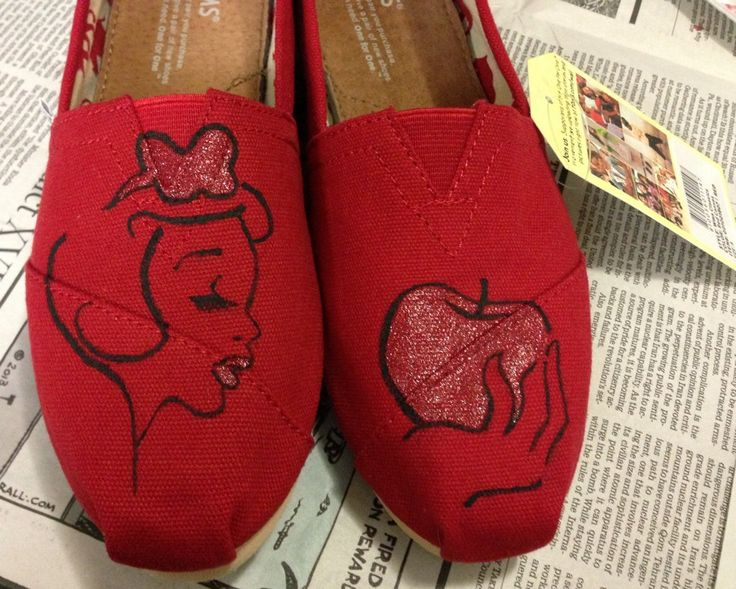 Custom Hand Painted Snow White Styled TOMS Womens Mens Childrens Flats Canvas Shoes. $80.00, via Etsy.