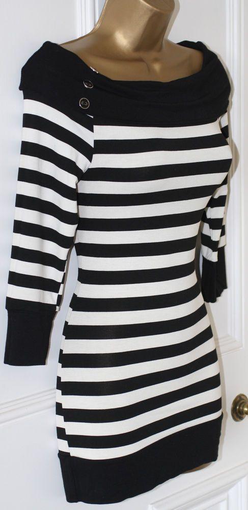 Jane Norman Black Stripe Off Shoulder Nautical Rockabilly 50s Bardot Top 12 40