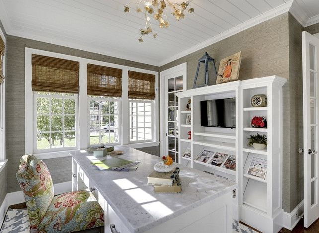 Feminine Home Office. This home office is a dream. Who wouldn't get organized here?