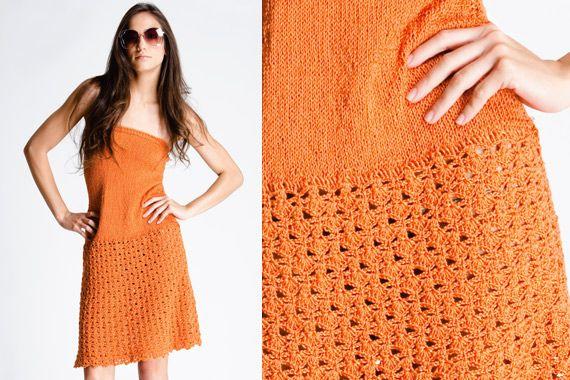 Vestido naranjo de algodón