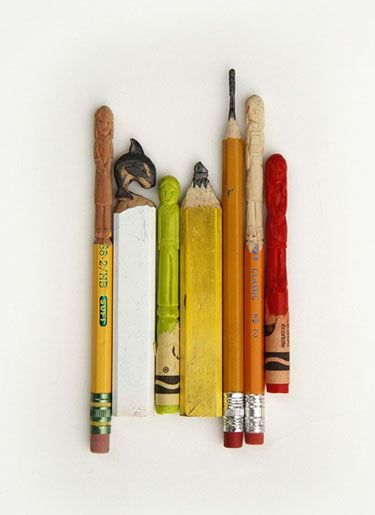 Pencil lead and crayon carvings makes me say hey