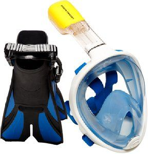 Ocean View Snorkel Set - Full Face Snorkeling Mask with Adjustable Diving Fins--------Amazon.com : Ocean View Snorkel Set - Full Face Snorkeling Mask with - not blowing the water out of the mask when resurfacing: the mask is designed for minimum to no water leakage, but this depends on the depth you dive at. When water does leak, the mask is designed with a one way valve at the bottom that allows for you to blow the water out without taking the mask off.