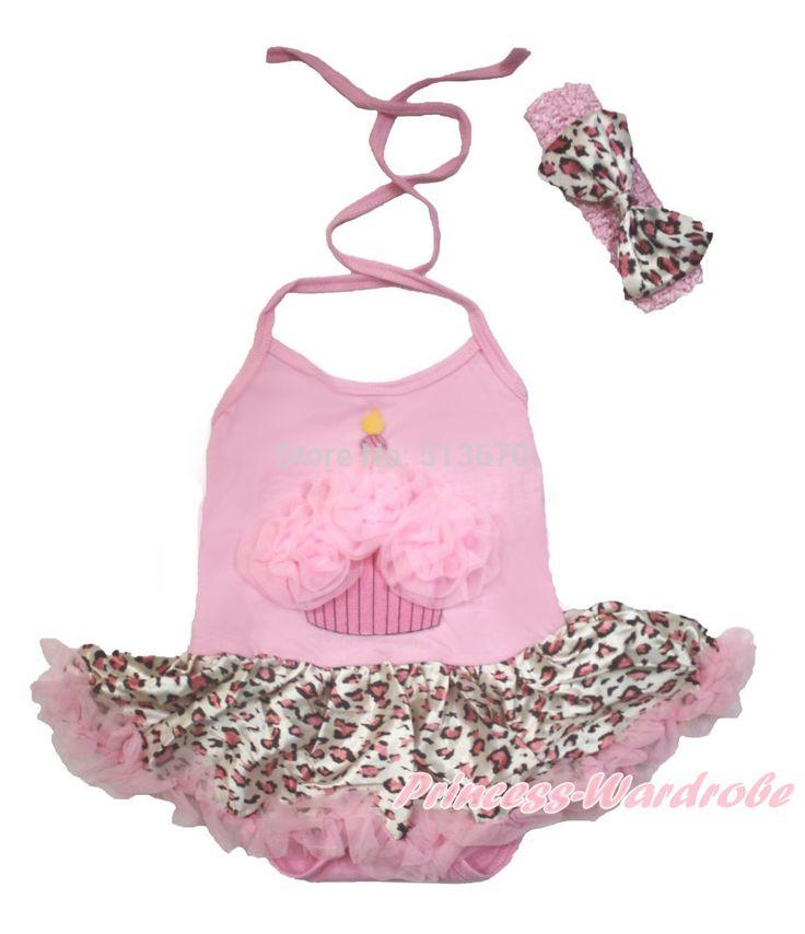 Розовый торт ко дню рождения Halterneck девушка боди розовый леопард девочка платье с и повязка на голову NB-2Year MAJS0136