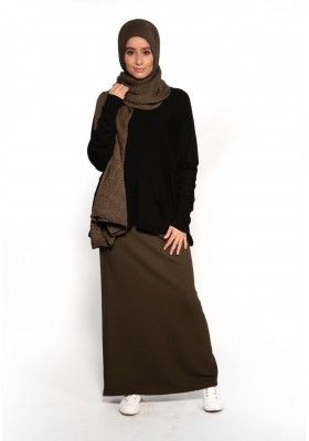 Jupe droite kaki pas cher vetement hijab boutique femmes musulmanes moderne fashion