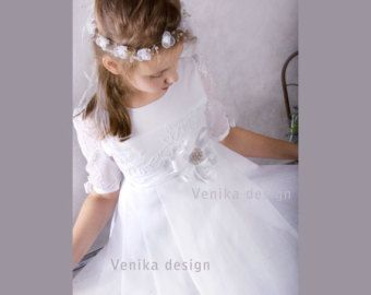Communion dress in white with delicate guipure by MonikaVenika