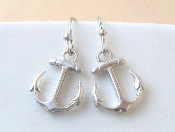 Silver Anchor Earrings Anchor Jewelry Nautical by Crystalshadow, $17.00