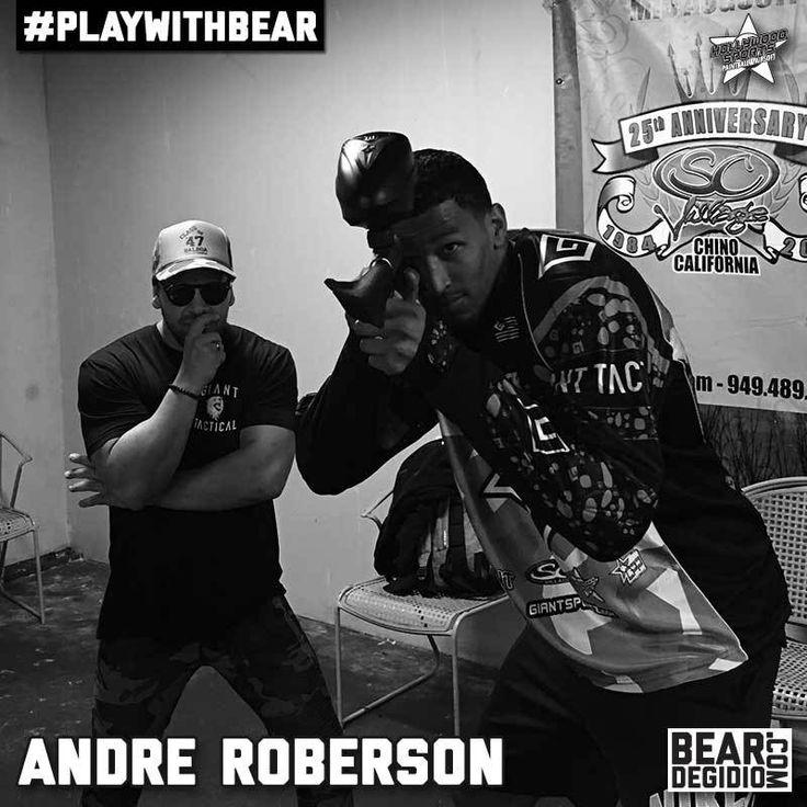 NBA star of the Oklahoma Thunder Andre Roberson plays paintball at Hollywood Sports Park with Bear Degidio.