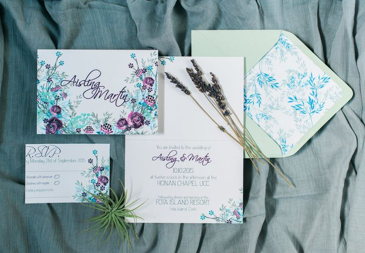 Meadow invitation suite in deep  purple by Lilly Cinnamon Wedding Stationery