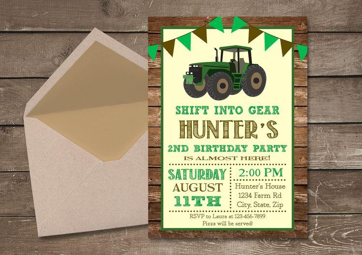 Tractor Birthday Invitation, Farm Invitation, Tractor Invitation, Printable Invitation, Tractor Party, Tractor Birthday, Boy Birthday Invite by PixiPrintables on Etsy