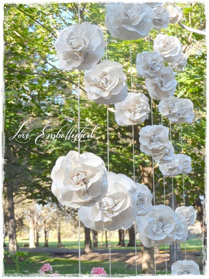 curtain of 7 garlands vintage book page paper flower roses