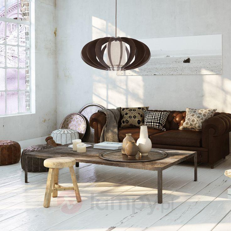 Ciemna lampa wisząca KAIKO z drewna, wenge 8574191