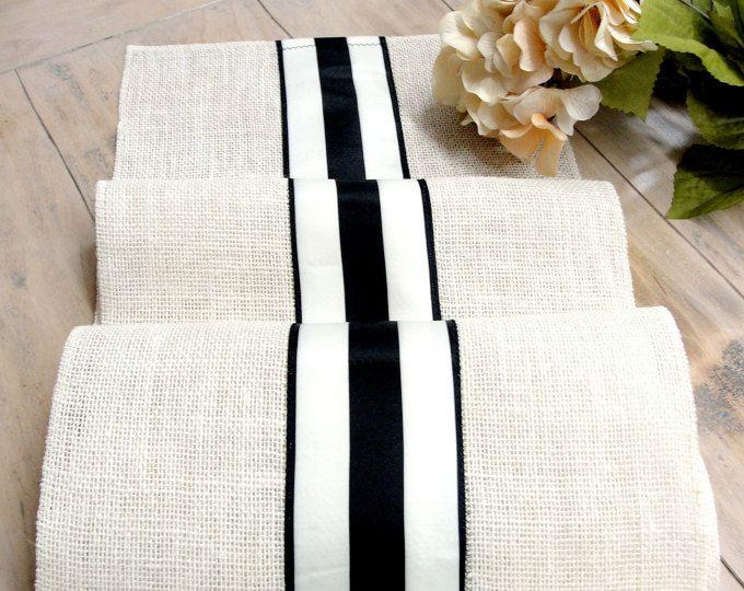 Arpillera de Marfil francés rayas francés granja boda mesa Runner boda mesa Decor negro y marfil mesa Corredor francés país