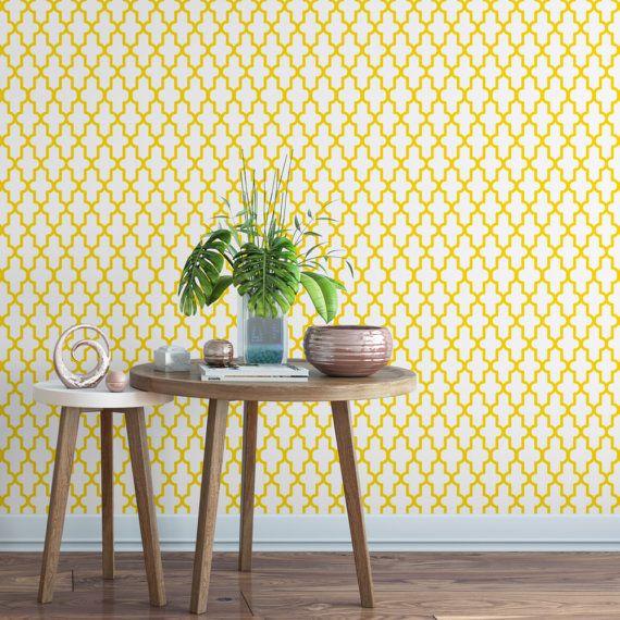 Geometric Yellow Removable Wallpaper G128 13 Etsy Removable Wallpaper Geometric Removable Wallpaper Wall Design