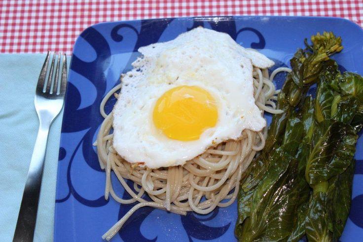 "Birds Nest.  Spaghetti ""Nests"" with fried egg"