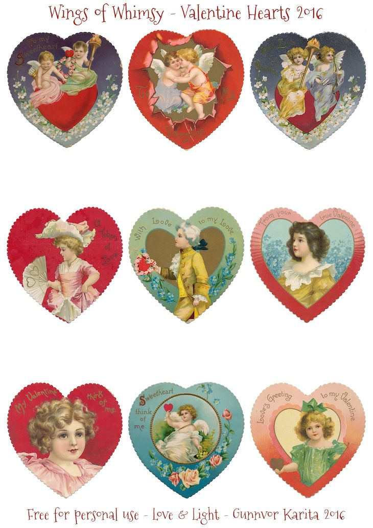 Scalloped printable Valentine hearts