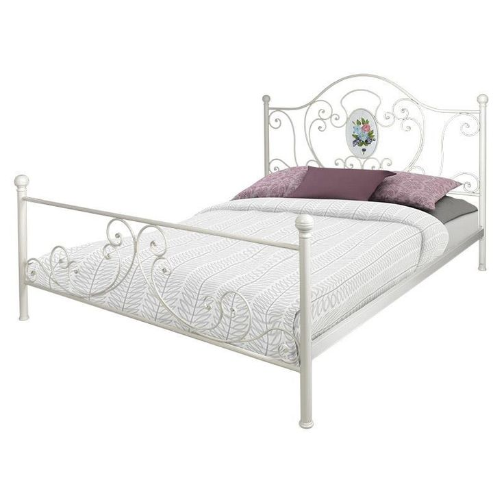 METAL DOUBLE BED IN ANTIQUE WHITE COLOR 210Χ170Χ130160Χ200) - Beds - FURNITURE - inart