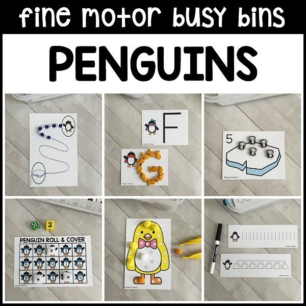 12 super simple printable Penguins Fine Motor Busy Bins for the winter theme in your pre-k, preschool classroom use supplies you have on hand!