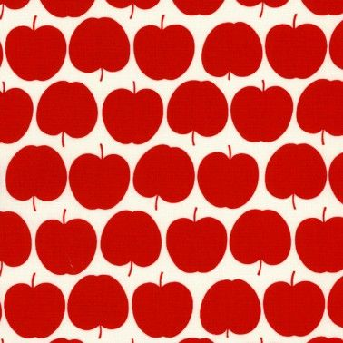 Red Apple Fabric PER METRE Kokka Japan Cute Retro Kitchen Fun Girls Novelty  H