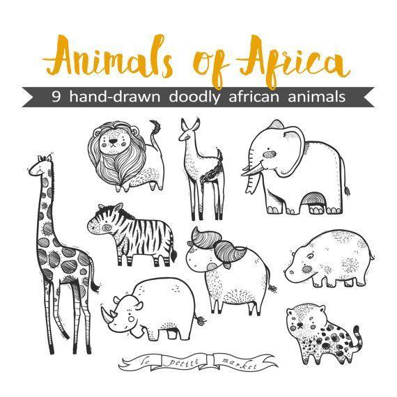 handgezeichnete süße tiere afrikas clipart illustration