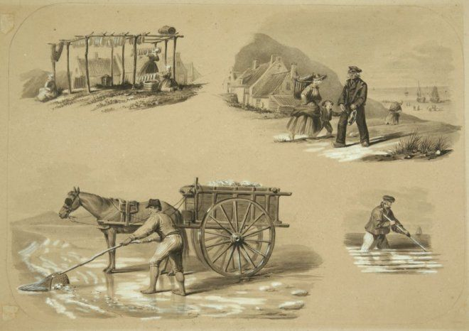 Negentiende-eeuwse Scheveningse dracht. Activiteiten Scheveningen: een schelpenvisser, visdrogerij, garnalenvisser (?) en de dorpsomroeper ' de klinker ', met in zijn linkerhand de ' klink'. De vissers dragen een pet, korsjak en kniebroek. De omroeper draagt een pet, vest, overjas en langebroek met klompen. De vrouwen dragen mutsjes en burgerdracht. Twijfelachtig of het Scheveningen is, door vissers en kleding. 1850 potlood, penseel #ZuidHolland #Scheveningen