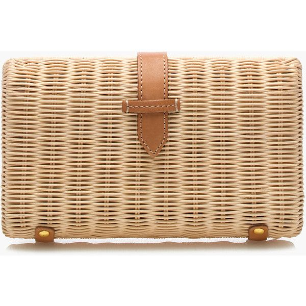 J.Crew Rattan clutch (375 MYR) ❤ liked on Polyvore featuring bags, handbags, clutches, j crew purses, beige handbags, j crew handbags, beige clutches and beige purse