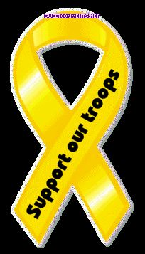 yellow ribbon support our troops image - Support Our Troops Silicone Bracelet