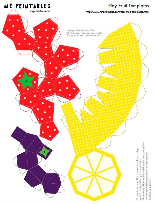 Шаблоны фруктов из бумаги для детей для вырезания и склеивания - клубника, лимон, черника