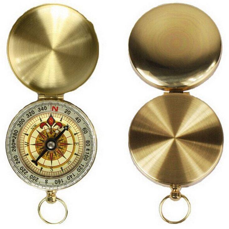 Camping Hiking Brass Pocket Golden Compass Navigation H1E1